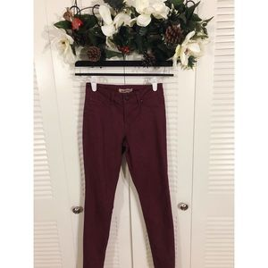 Blue spice Maroon wash stretchy jeans